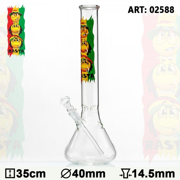 Rasta | Smile Beaker Glass Bong- Ø:40mm- H:35cm- Socket:14.5mm