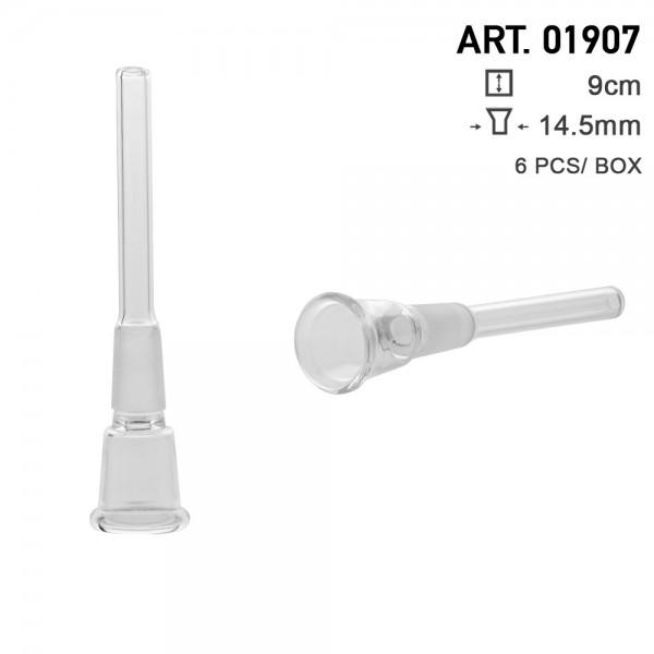 Glass Chillum - Socket:14.5mm- small hole - L:9cm-6pcs-box