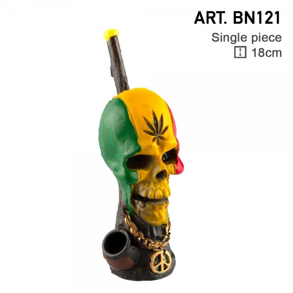 Amsterdam | Rasta Skull Pipe L: 18cm with the pipe hole of 3mm