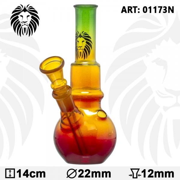 Rasta Bouncer Glass Bong - H:14cm - Ø:20mm - Socket:12mm