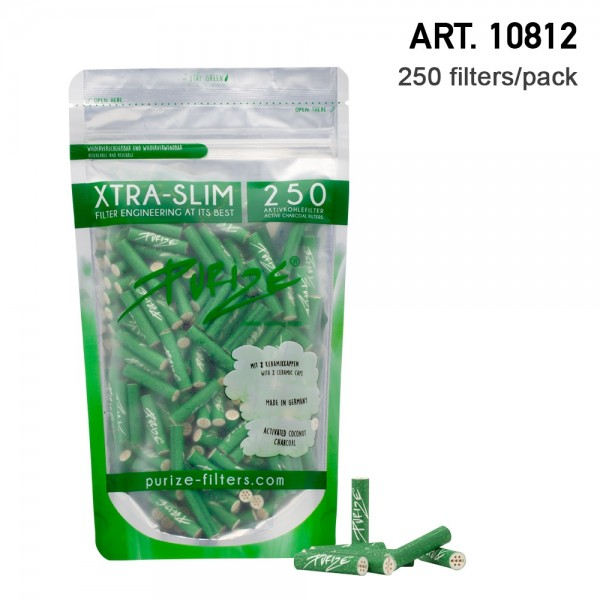 Purize | 250 Xtra Slim Size Green Filters per pack Ø:5,9mm x 26,9mm