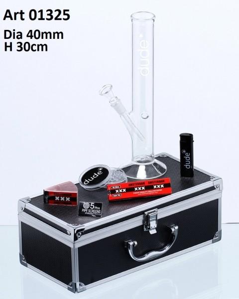 Dude Glass Bong in Aluminum Box- H:30cm- Ø:40mm Sock