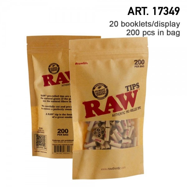RAW   Authentic Pre-Rolled Tips - 200 tips per bag