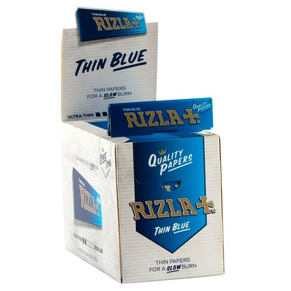 Rizla   Thin Blue Single Wide 50 leaves per booklet - 100 booklets per display