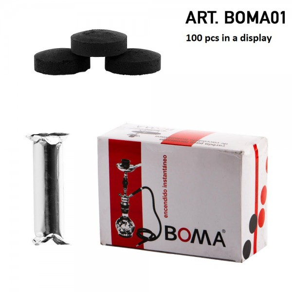 Boma | Charcoal 100 pcs in one display - 40mm diameter and 19mm Height