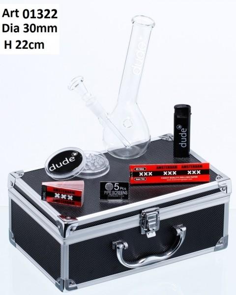 Dude Glass Bong in Aluminum Box -H:22cm- Ø:30mm