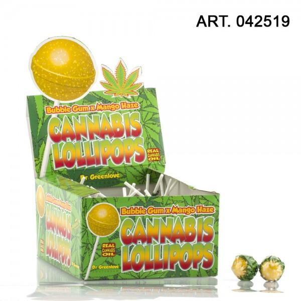 Cannabis   Lollipops Bubble gum x flavor Mango Haze 70pcs/ These THC free Cannabis Lollipops come