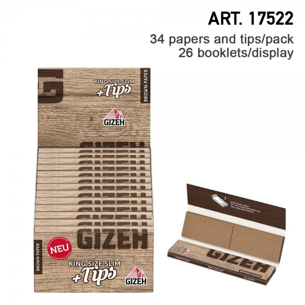 Gizeh | Brow King Size Slim + Tips Extra Fine with 34 leaves and 34 tips in one booklet and 26 bookl