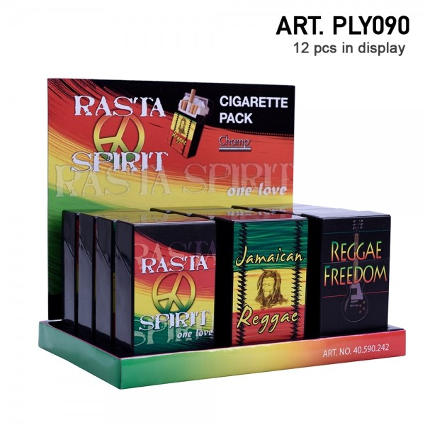 Champ | Rasta cigarette cases for 20pcs cigarettes in different logo's and there are 12pcs in a disp