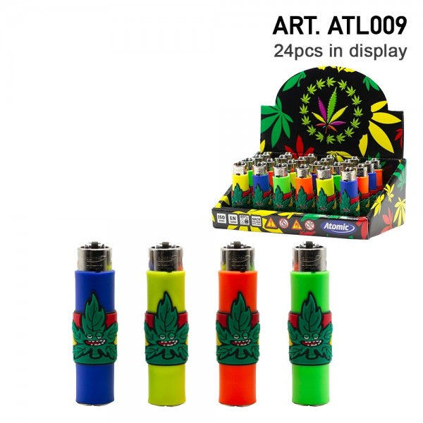 Atomic | Funda Stoned Leaf refillable lighters with mixed sleeve designs - 24pcs in display