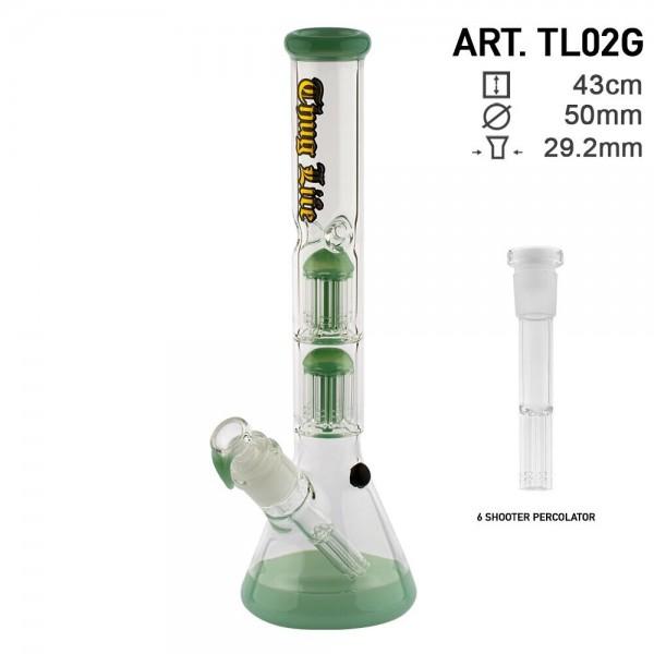 Thug Life   Double Perculator Green - H:43cm - Ø:50mm - SG:29.2mm Black with 6 shooter