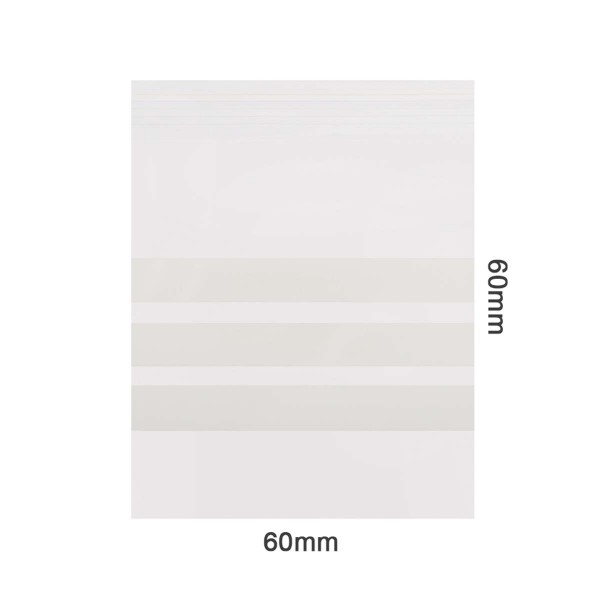 Amsterdam | Zipper Bags 60mm x 60mm 60µ (MU) Clear 3 x writable labels and 1000pcs in a display