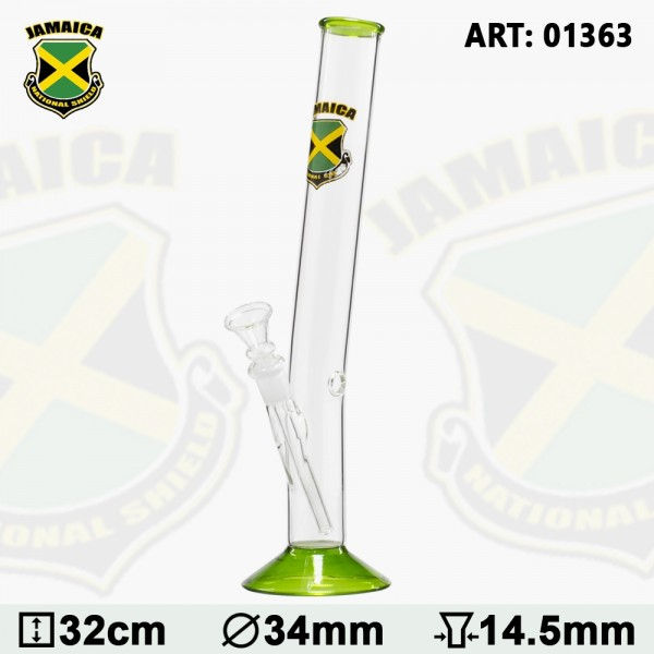 Country | Hangover Glass Bong with Jamaica Logo - H:32cm - Ø:34mm- SG:14.5mm