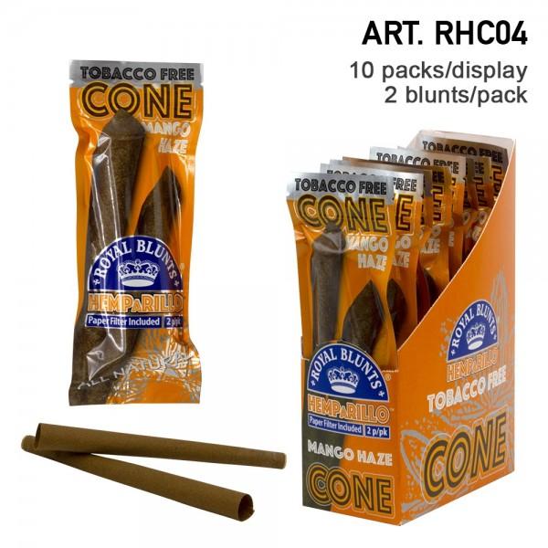 Royal Blunts | Hemparillo Mango Cones with tips - 20 cones in display