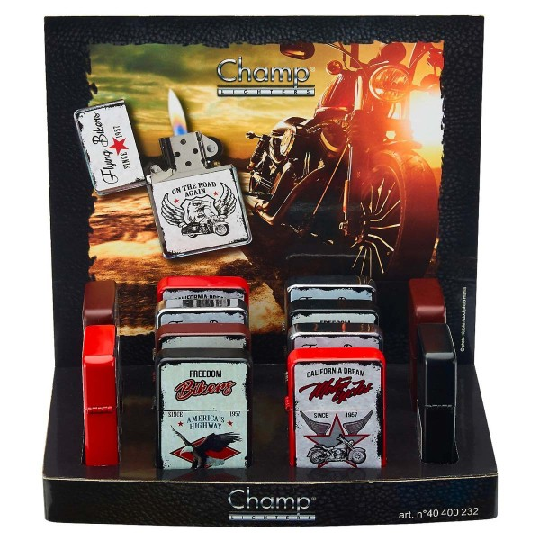 Champ | Zippo with mixed angels logo's there are 12 pcs in a display
