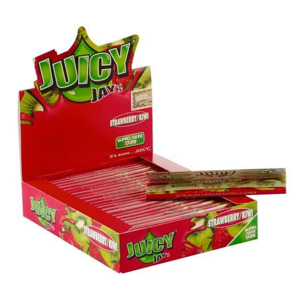 Juicy Jay's | Strawberry/kiwi flavored King Size Slim rolling papers - 24pcs in a display