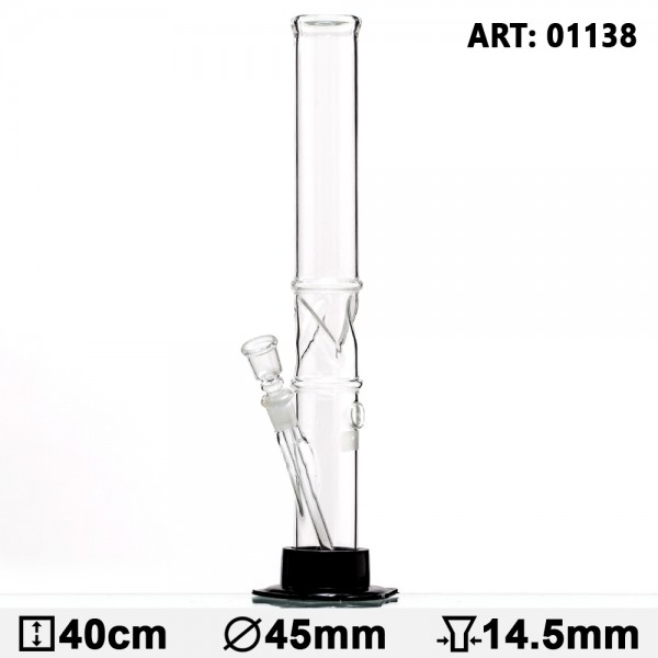 Plain Glass Bong Black Base - H:40cm - Ø:45mm - Socket:14.5mm