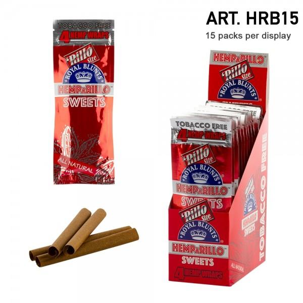 Royal Blunts   Hemparillo Sweets (Cherry) Hemp Wraps - 15 packs in display - Each display contains 6