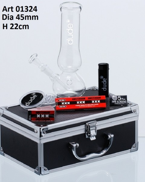 Dude Glass Bong in Aluminum Box - H:22cm - Ø:45mm