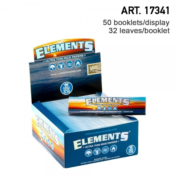 Elements | King Size Slim Rolling Papers 50 booklets in one box