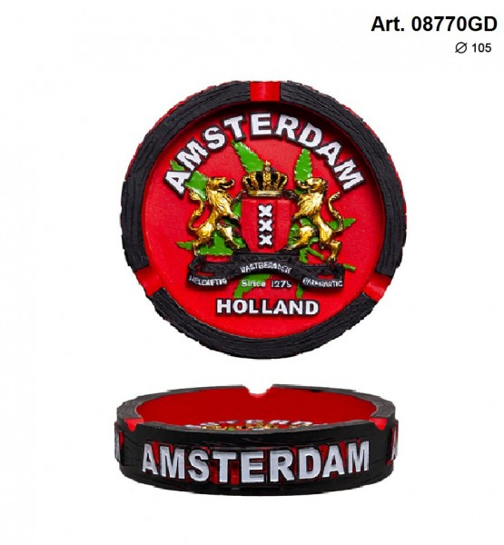 Amsterdam   Clay Ashtray with Amsterdam Logo Dia: 105mm