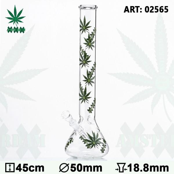 Green XXX Amsterdam Leaf Glass Bong - Ø:50mm - H:45cm - Socket:18.8mm