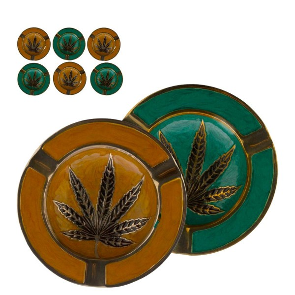 Leaf   Metal Ashtray Green&Gold colors with Leaf Logo Ø:13cm - 6pcs in a box