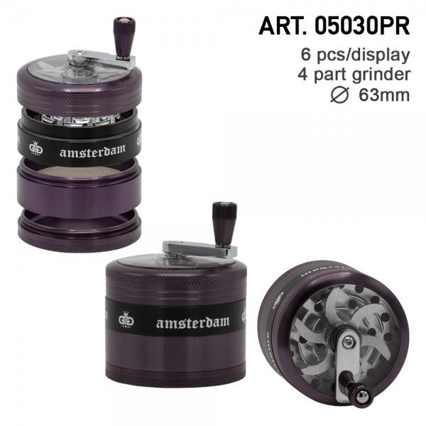 Grace Glass Amsterdam | Grinders - 4part - Ø:63mm - crank and window - Purple - 6pcs/box