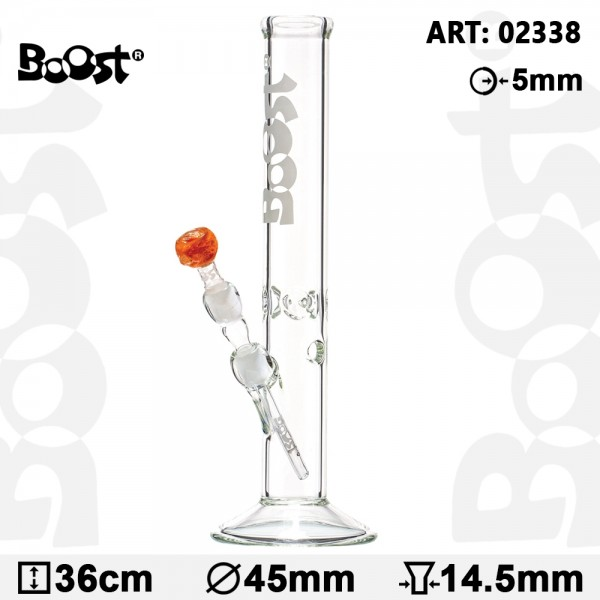 Boost | Cane Glass Bong -H:36cm- Ø:45mm- Socket:14.5mm- WT:5mm (circa)