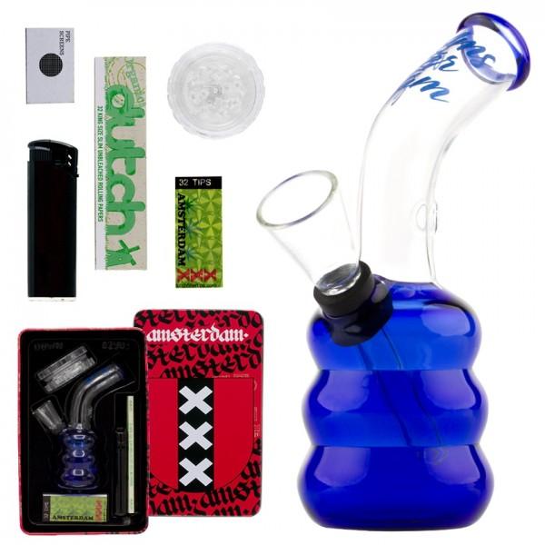 Amsterdam | Bong giftset with 1 x Bong - 1 x Grinder - 1 x lighter - 5 x screen - 1 x KS Rolling pap