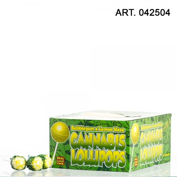 Cannabis Lollipops Bubble gum x flavor Lemon haze 70pcs/ These THC free Cannabis Lollipops come wi