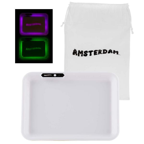 Amsterdam   Acyrlic Multi Colors LED Tray White - L:26cm - W:21cm with Amsterdam bag!