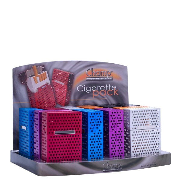 Champ | Aluminium Perforated cigarette cases for 20pcs cigarettes in different colors and there are