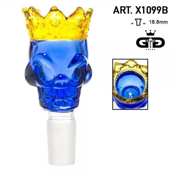 Grace Glass | Skull King Bowl- Blue- SG:18.8mm