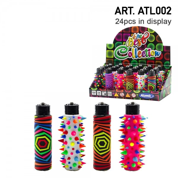 Atomic   Funda Marihuana refillable lighters with mixed sleeve designs - 24pcs in display