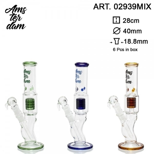 Amsterdam Glass Bong- H:28cm- Ø:40mm SG:18.8mm 6pcs in box
