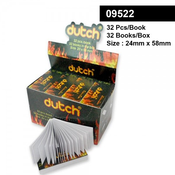 Dutch | Filter Tips - Large Size 24 x 58mm - Display with 32 Books with each 32 Sheets