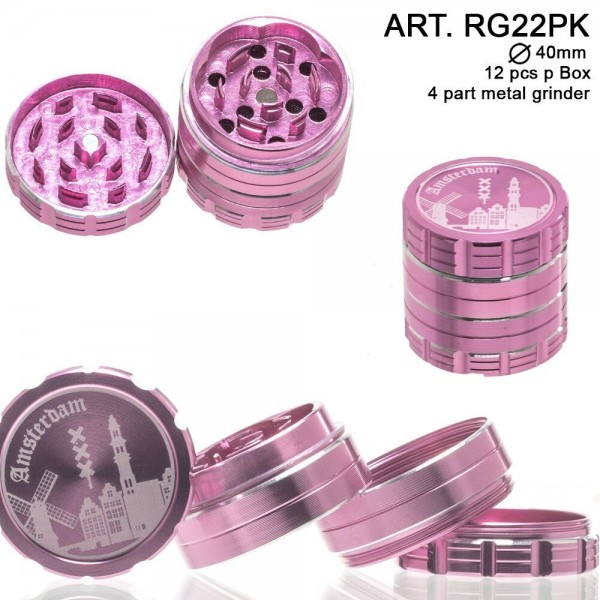 Dope Bros- Amsterdam: 4 Part Metal Grinder (Pink) : Ø 40mm. 12 pcs/box