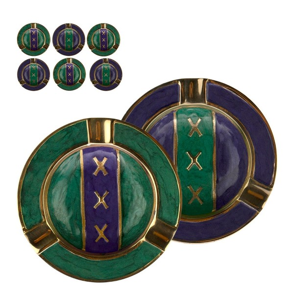 Amsterdam   Metal Ashtray Green&Blue mixed colors with Leaf Logo Ø:9cm - 6pcs in a box