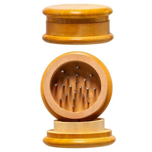 Amsterdam | Wooden grinder- 2part- Flat Lid - Ø:50mm - 24pcs/box