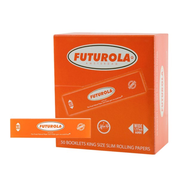 Futurola | KS Slim Rolling Papers 32 leaves per booklet and 50 booklets in a display/box