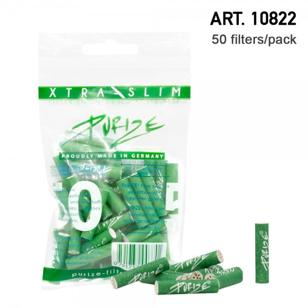 Purize | 50 Xtra Slim Size Green Filters per pack Ø:5,9mm x 26,9mm
