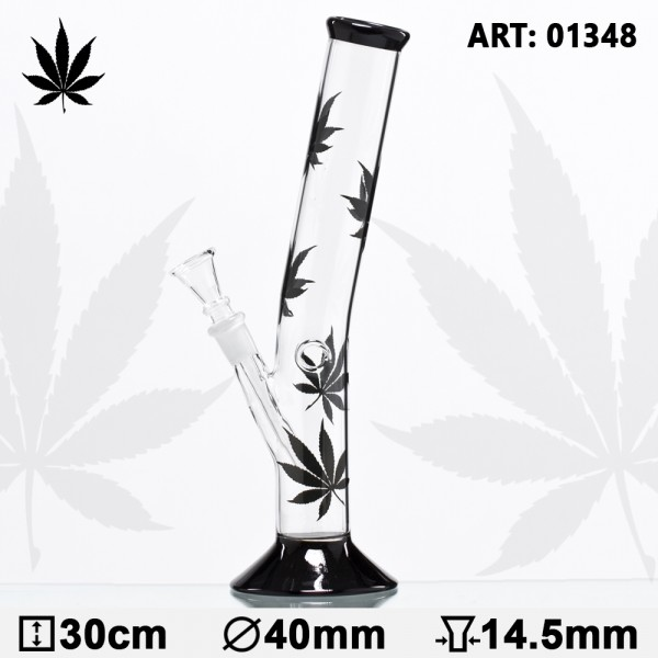 Black Leaf Hangover Glass Bong- H:30cm- Ø:40mm- Socket:14.5mm