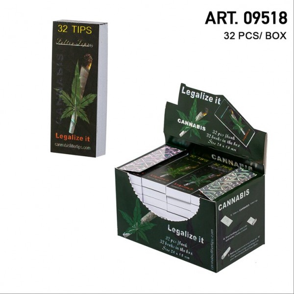 New Ways | Cannabis Joint Filter Tips- Large Size 24 x 58mm - Display with 32 Books with each 32 Sh