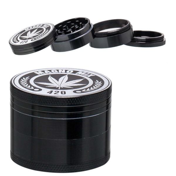 Magno Mix | Herbal Grinder- Ø: 50mm- 4part- Black - 12pcs/display