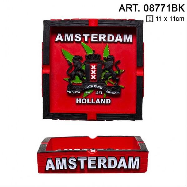 Amsterdam   Clay Ashtray with Amsterdam Logo L: 11cm and W: 11cm