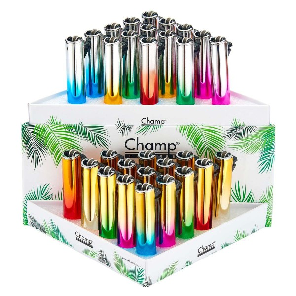 Champ | Summer Flint lighters with mixed logo's there are 30 pcs in a display