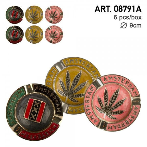 Amsterdam | Brass Ashtray Gold, Red and Green mixed colors with Amsterdam and Leaf Logo Ø:9cm - 6pcs