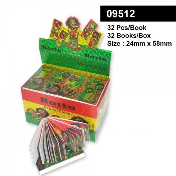 Rasta Man Filter Tips - Large Size 24 x 58mm - Display with 32 Books with each 32 Sheets