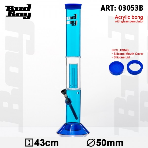 Cane Bud Boy Bong- Blue- H:43cm- Ø:50mm- WT:3mm (circa)- Glass Percolator